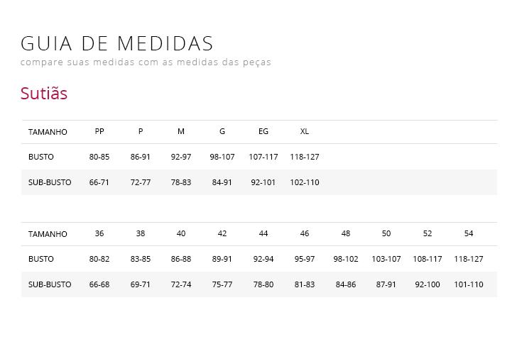 tabela de medidas de roupas